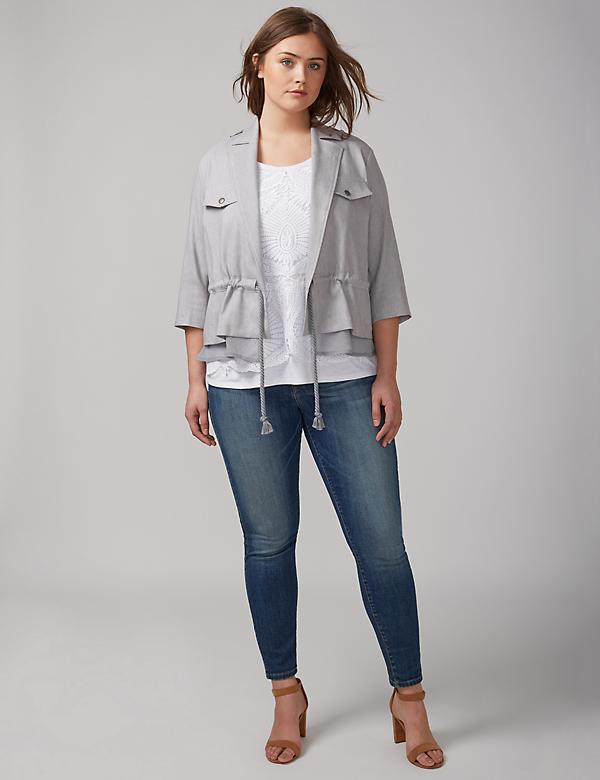 Twill Jacket with Chiffon Trim