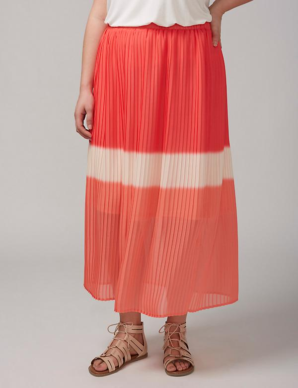 Dip-Dye Pleated Skirt