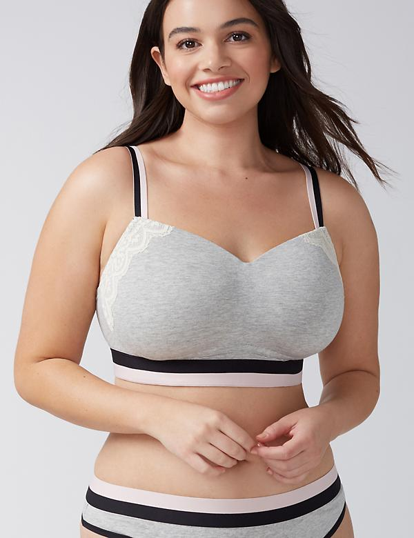 Cotton Lightly Lined Lounge Bra with Striped Band