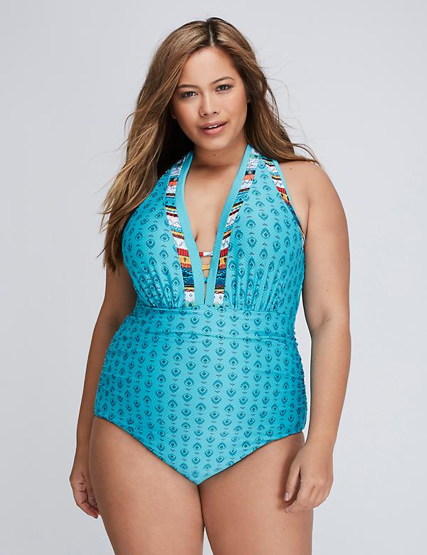 Textured Swim One Piece with Built-In Plunge Bra