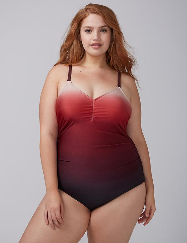 Shimmer Ombre Swim One-Piece with Built-In No-Wire Bra