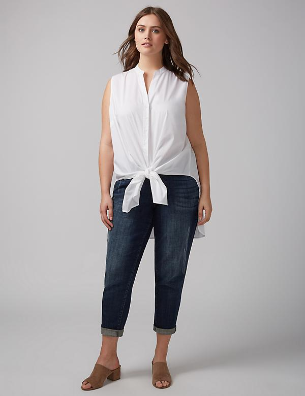 Sleeveless High-Low Knot-Front Tunic Shirt