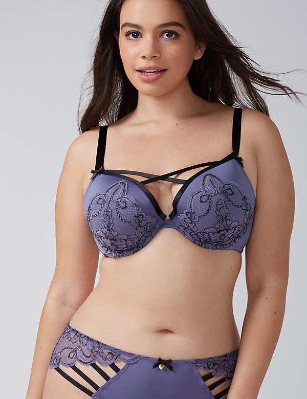 Lightly Lined Plunge Bra with Floral Lace