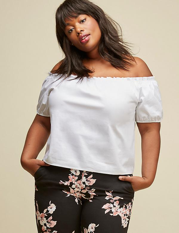 Off-the-Shoulder Poplin Cropped Top by GLAMOUR X LANE BRYANT