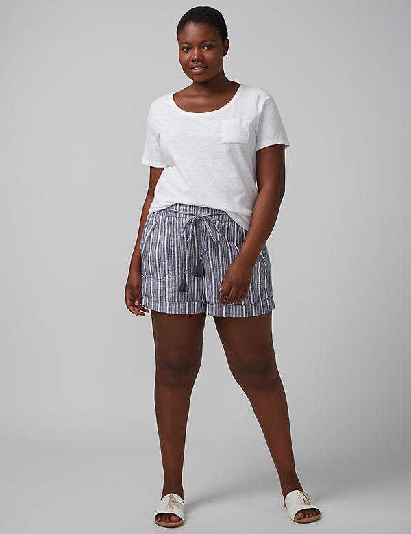 Striped Linen Tie-Front Short