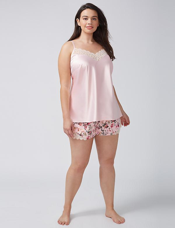 Lace-Trim Satin Sleep Cami