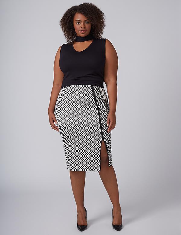Zig-Zag Jacquard Pencil Skirt