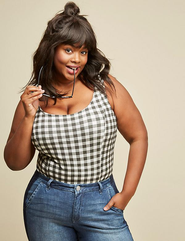 Gingham Bodysuit by GLAMOUR X LANE BRYANT