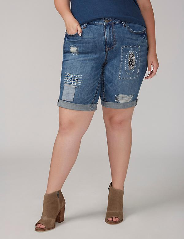 Fast Lane Destructed Denim Bermuda Short