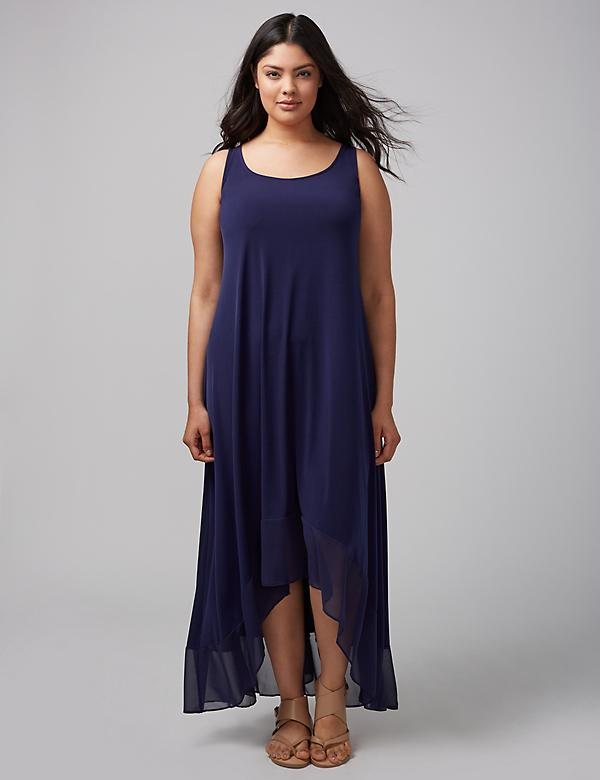 Sleevless Maxi Dress with Chiffon Hem