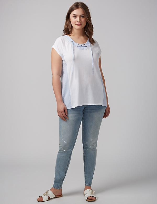 Fabric-Mix Lace-Up Tee