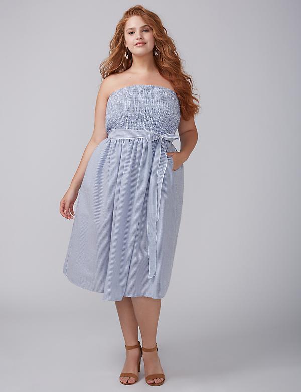 Strapless Seersucker Midi Dress