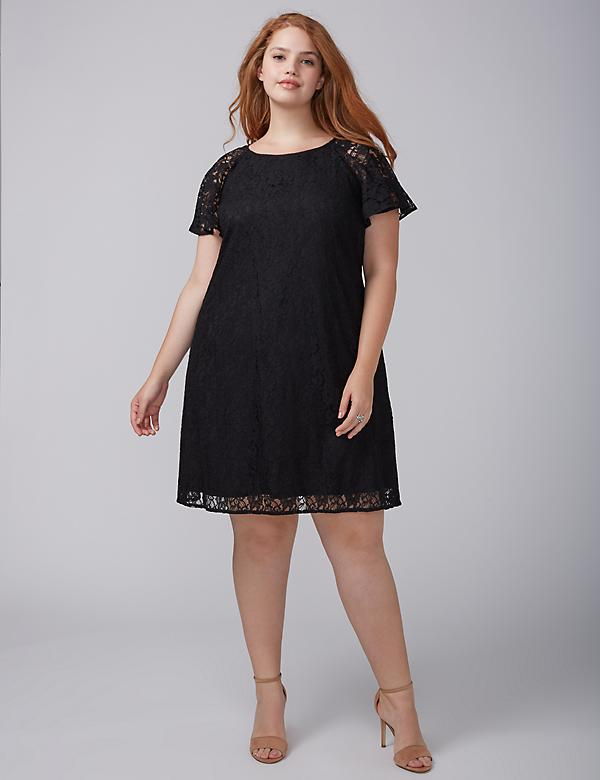 Flutter-Sleeve Lace Swing Dress