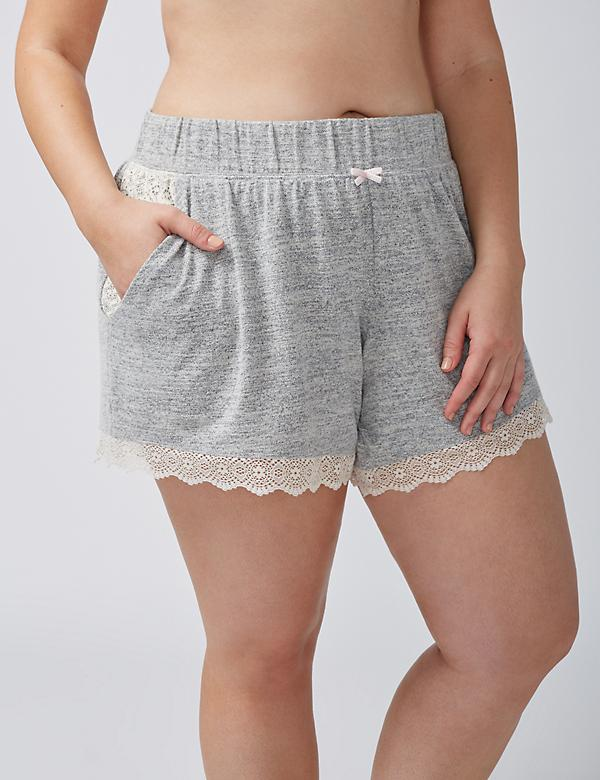 Marled Sleep Short with Lace Trim