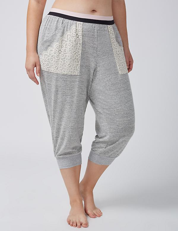 Marled Cropped Sleep Jogger with Lace-Trim Pockets