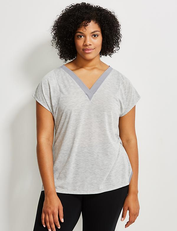 Striped Active Tee with Mesh Trim