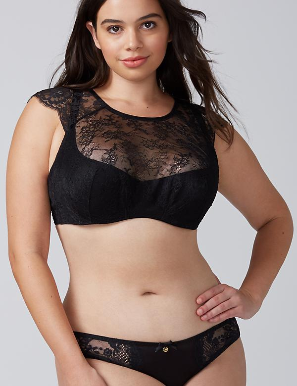 High-Neck Lightly Lined French Balconette Bra with Eyelash Lace