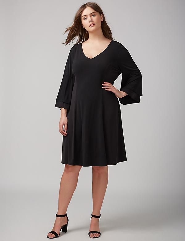 Flutter-Sleeve Knit Dress