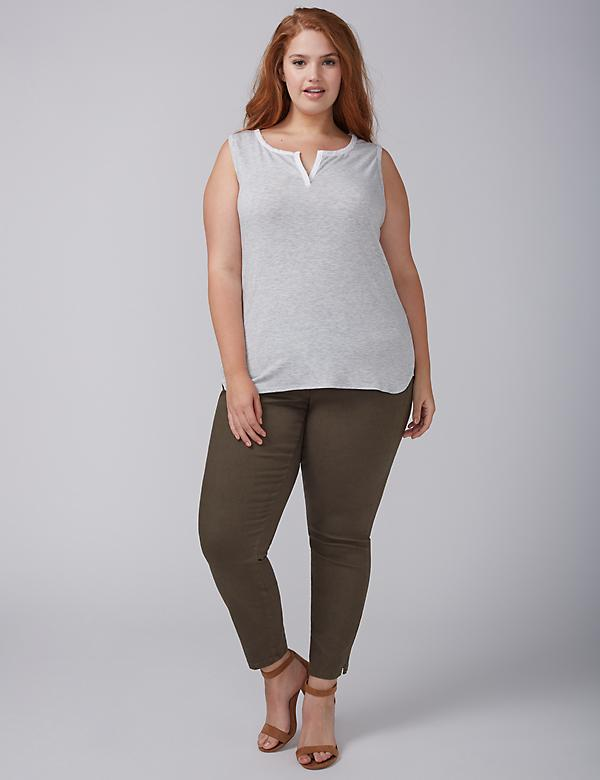 Fabric-Mix Notch-Neck Tank