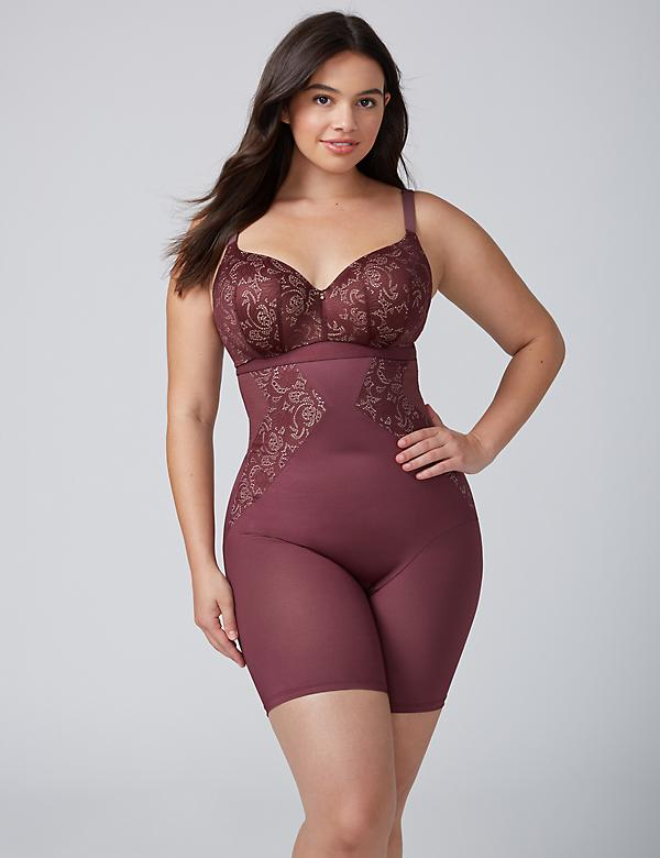 Shape by Cacique Illusion High-Waist Thigh Shaper with Lace