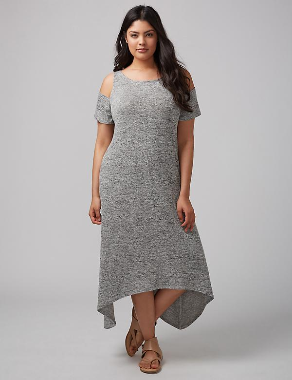 Cold-Shoulder Hacci Maxi Dress