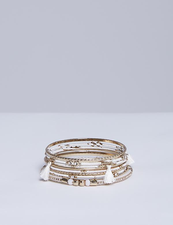 8-Row White & Goldtone Bangle Set
