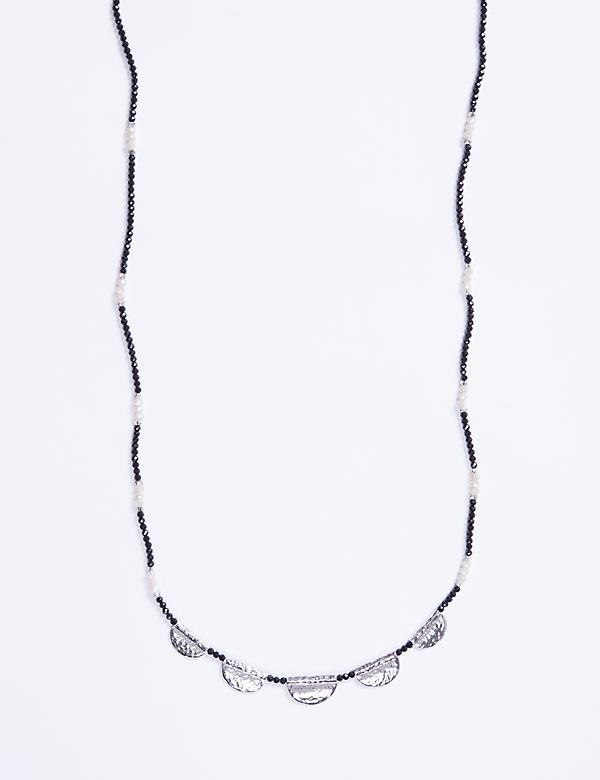 Long Beaded Necklace with Metal Accents