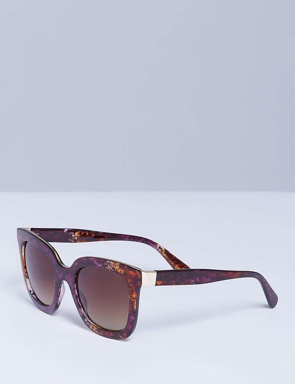 Multi-Colored Tortoiseshell Sunglasses with Gold Detail