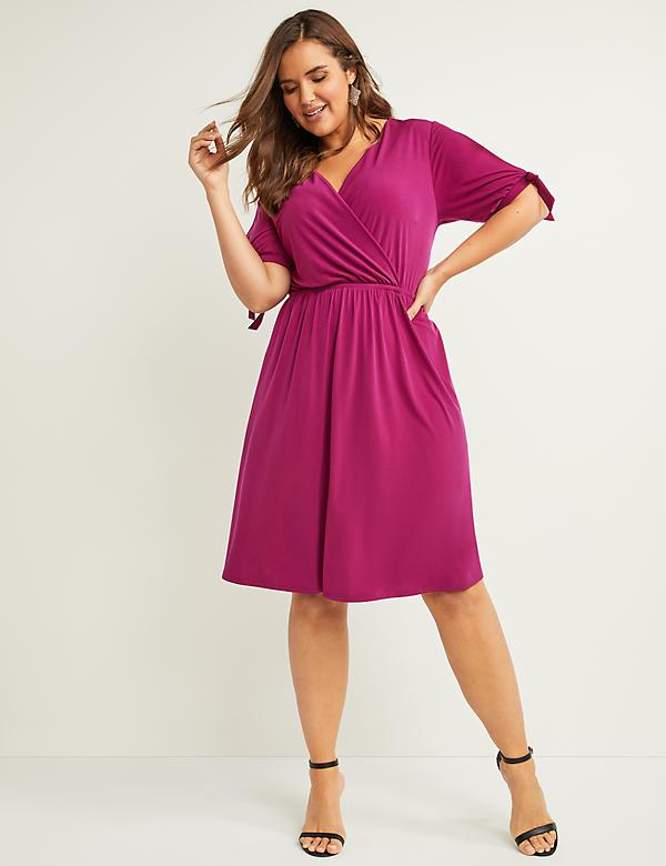 Slash-Sleeve Fit & Flare Dress