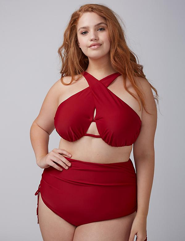 Cross-Front Bikini Top with Built-In Bandeau Bra