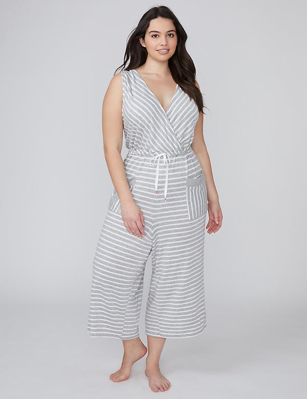 Striped French Terry Sleep Jumpsuit