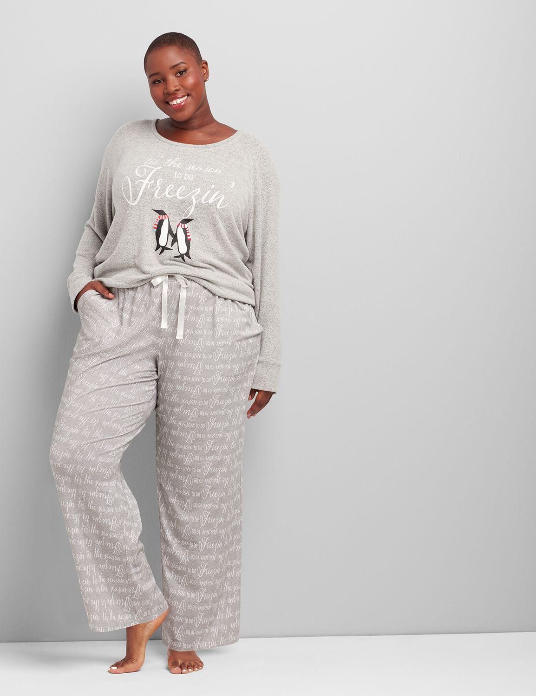 lane bryant women's printed sleep pant 14/16 tis the season