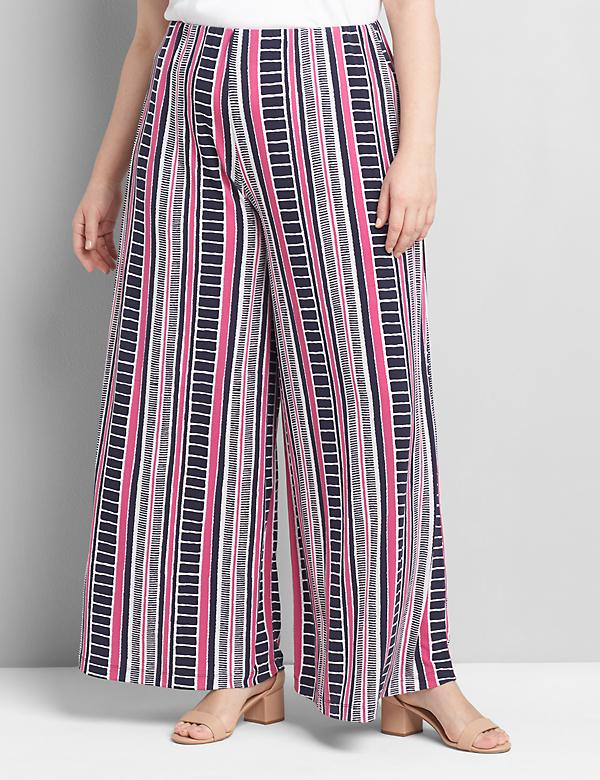 Printed Knit Kit Pull-On Wide Leg Pant