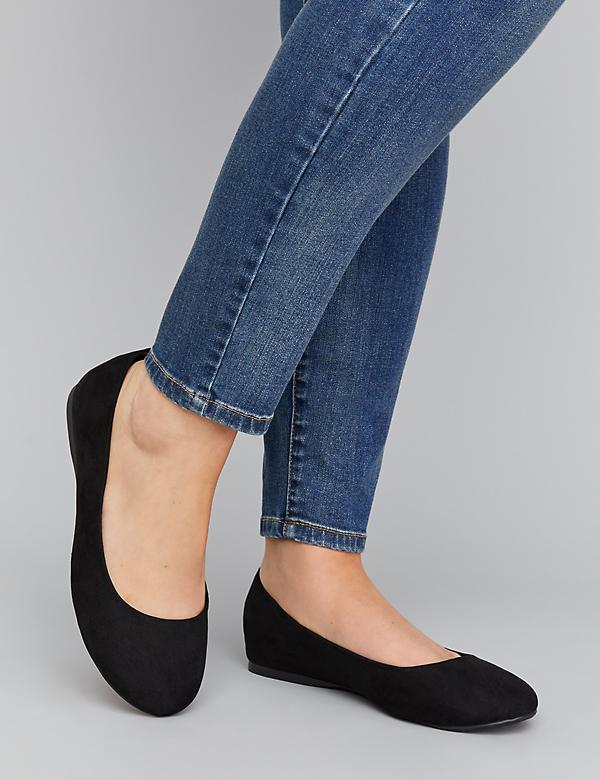 Faux Suede Round-Toe Flat