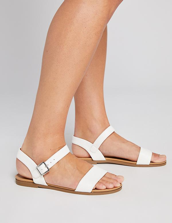 Ankle-Strap Flat Sandals - Faux Snake Skin