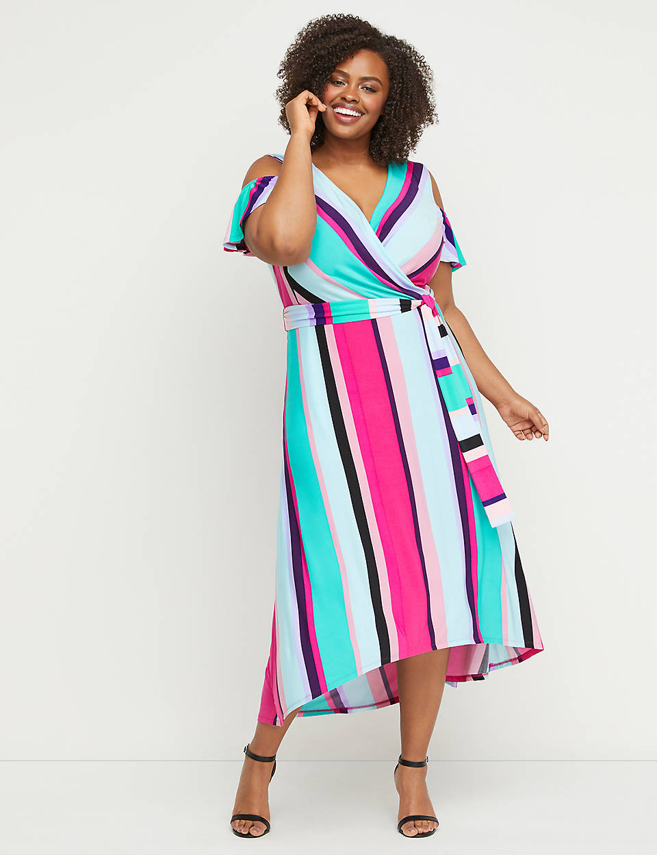 84d4fbe9213f Faux-Wrap Maxi Fit & Flare Dress | Lane Bryant