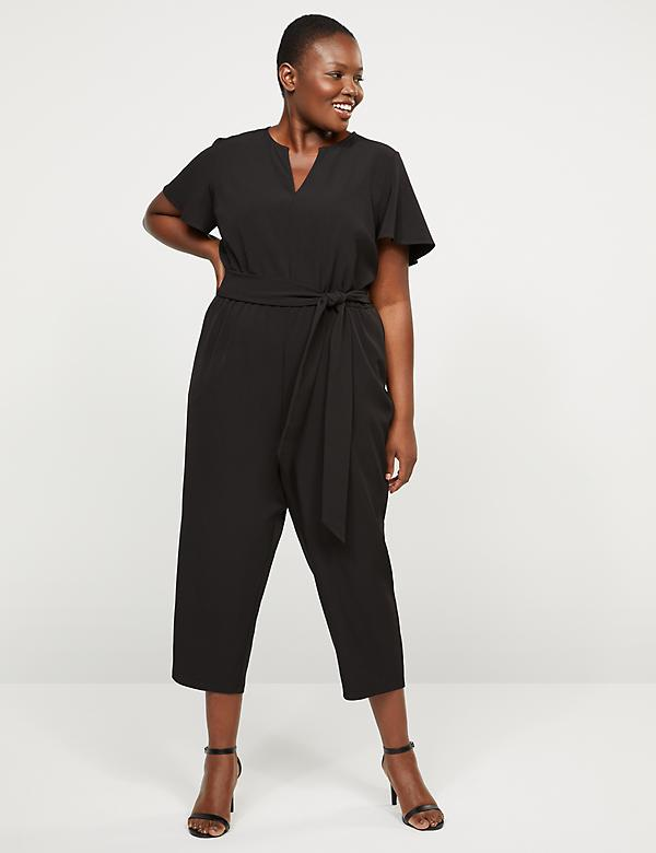 Lena Flutter-Sleeve Notch-Neck Jumpsuit