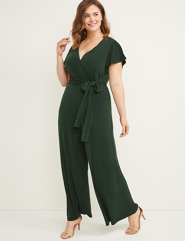 Faux-Wrap Flutter Sleeve Jumpsuit