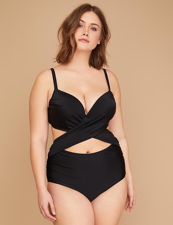 Swim Monokini with Built-In Plunge Bra