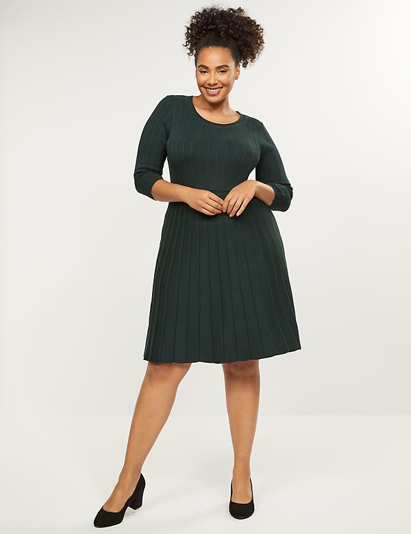 Pleated Fit & Flare Sweater Dress