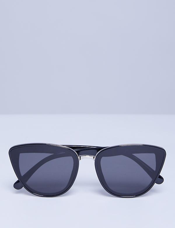 Layered Cateye Sunglasses with Metal Trim