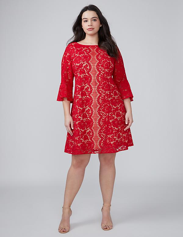 Flounce-Sleeve Lace Dress