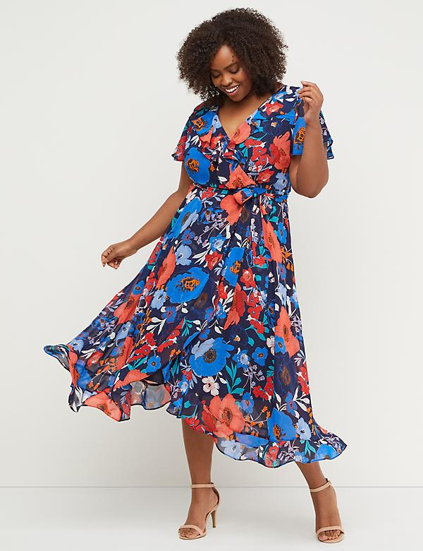 Faux Wrap Chiffon Midi Dress