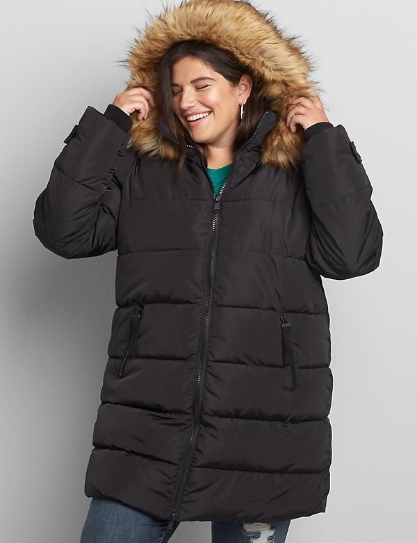 Faux-Fur Trim Hooded Puffer Coat