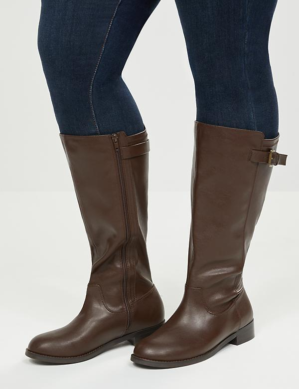 Buckle Strap Riding Boot - Extra Wide Calf