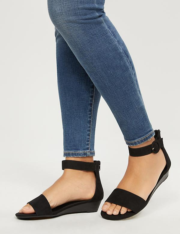 Low-Wedge Ankle-Strap Sandals