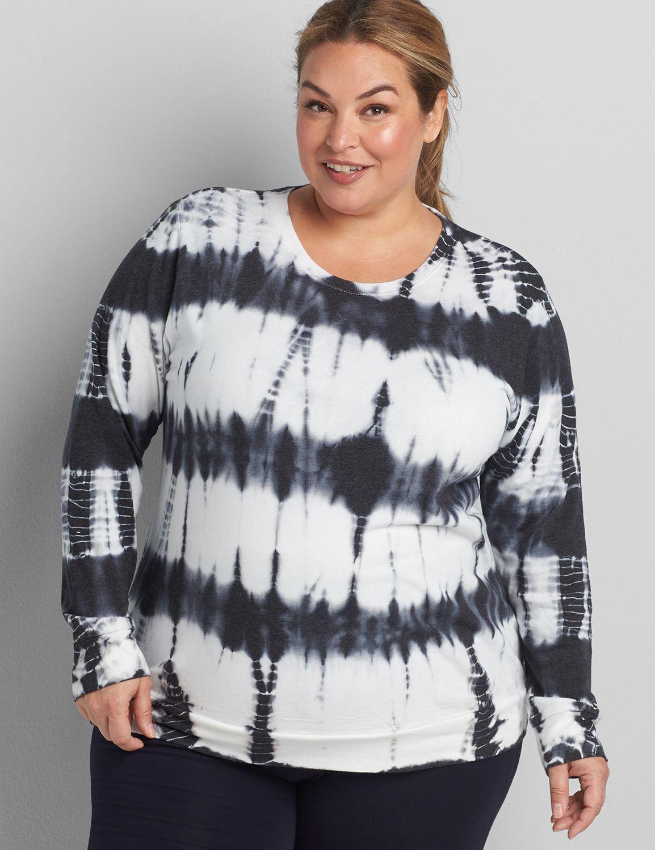 lane bryant women's livi french terry sweatshirt - tie-dye 14/16 black