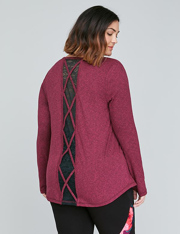 Wicking Long-Sleeve Red Active Tee - Marl with Strappy Lace Inset