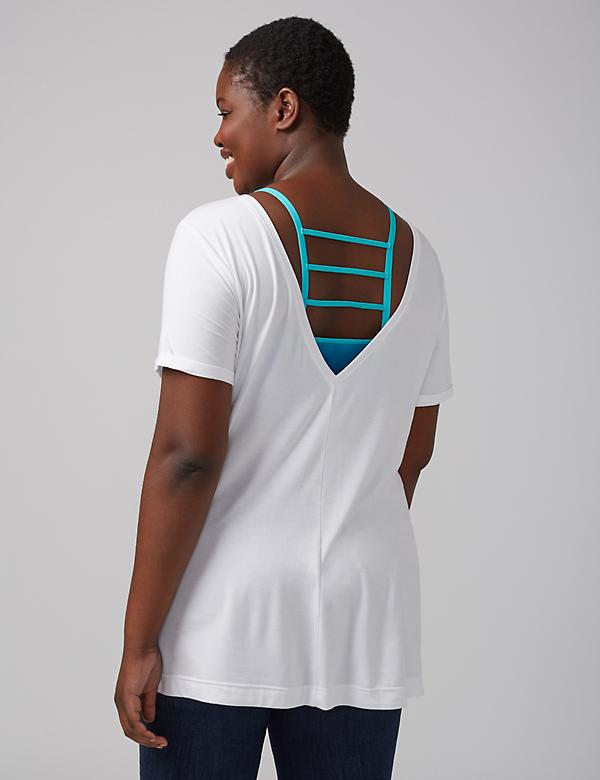 Roll-Sleeve Tee with a Deep V Back