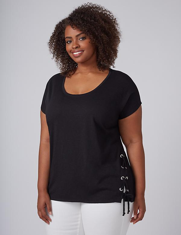 Dolman Tee with Lace-Up Sides